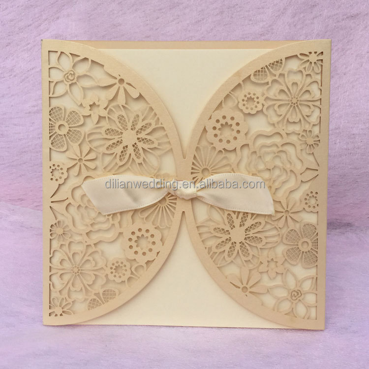 Light gold pearl light paper laser cut floral lace wedding invitations