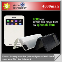 New 4000mah Power Leather Flip External Backup Battery Charger Case For Apple iPhone 6