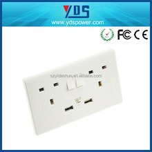 China Manufacturer co Uk 5V/2.1A Hot sales UK 2 gung switch UK type double 3 pin wall sockets electrical usb outlets BS1363 pass
