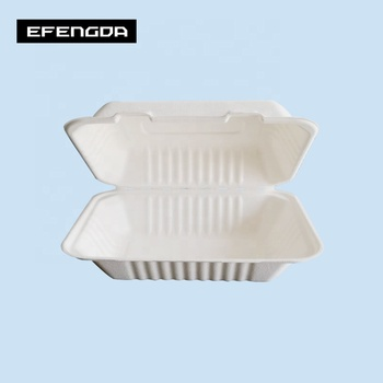 Eco-Friendly biodegradable disposable sugarcane bagasse square takeaway lunch boxes 8inch 9inch