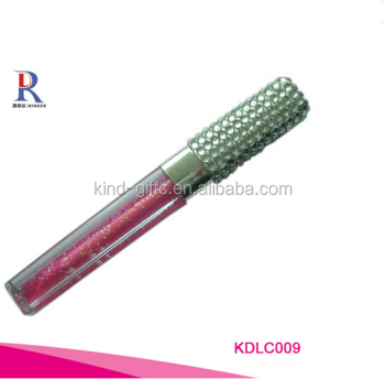 Bling bling crystal studded high quality aluminum plastic cosmetics lipgloss tube