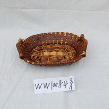 wholesale rattan plate with wooden handle