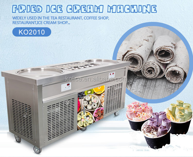 Free shipment 2 flat pans handmade cold roll fried ice cream machine,double flat round pan fry ice cream roll machine