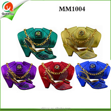 Wholesale and retail African perfect shoes and bag MM1004-3 purple