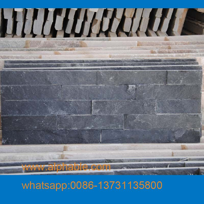 8-10 mm thick black slate cultural stone thin tiles
