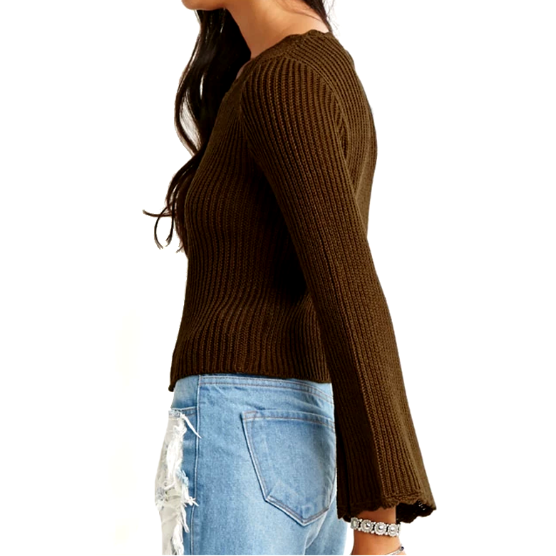brown slouchy ribbed knit sweater pullover design with long bell sleeves