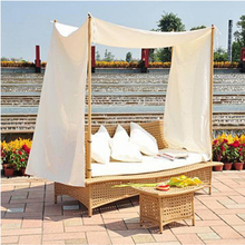 New designs patio wicker furniture sun lounge daybed outdoor rattan sofa bed