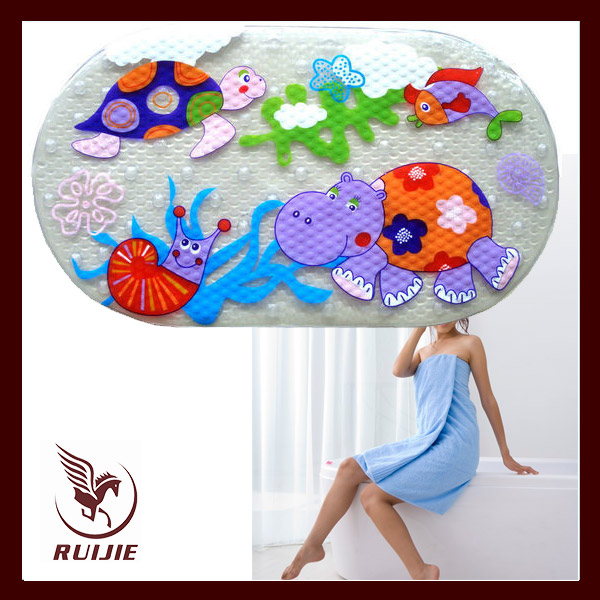 2017 High Quality Printed Pvc Funny Color Changing Bath Mat