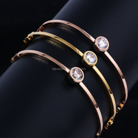 Wholesale stainless steel ladies hand bracelet design with diamonds and lock charm