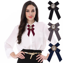Vintage Women Brooch Big Ribbon Bowknot Shirt Dress Bow Tie Lace Collar Brooch Pins Accessories Fashion Crystal Corsage Brooch