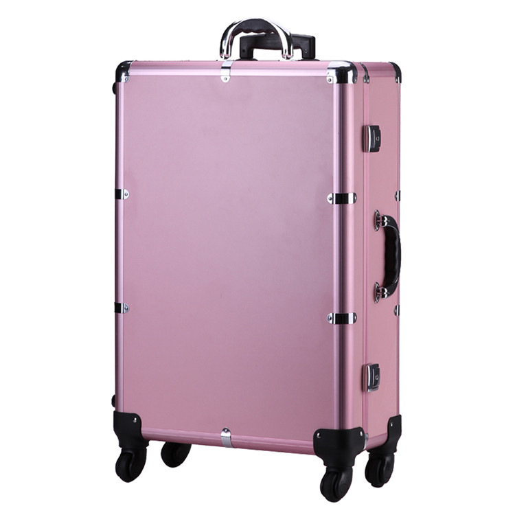 CE Certificated Professional Mobile Mirror Lighted Makeup Station Aluminum Trolley Beauty Case
