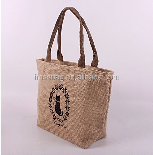 Women Fashion Promotional Shopping Tote Bag/ Cotton Jute Bag With Zipper