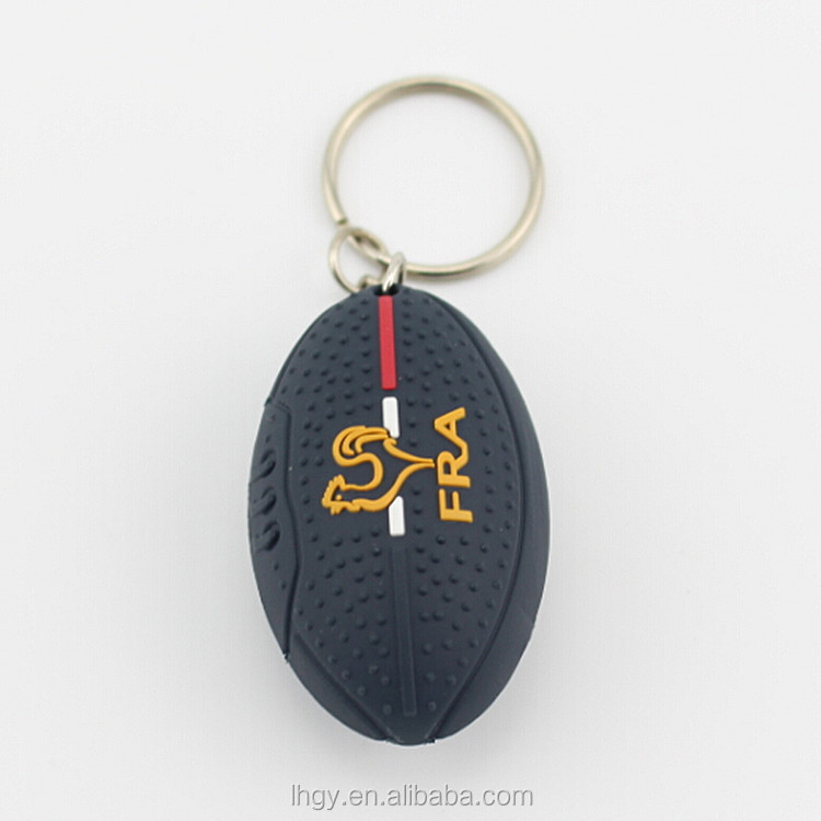Free shipping rugby promotional product car key rings jewelry wholesale fashion resin key chains american football
