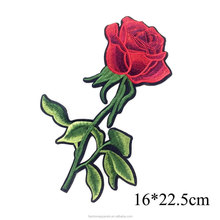 Custom rose iron on embroidery flower patch for clothing