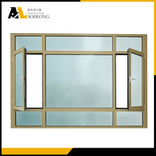 Champagne casement window combine with fixed panel design