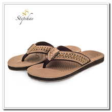 high quality PU MEN SANDAL flip flops with logo BIG SIZE BROWN