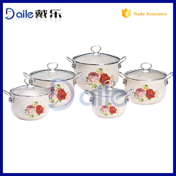 Enamelware Casserole cookware sets marble coating