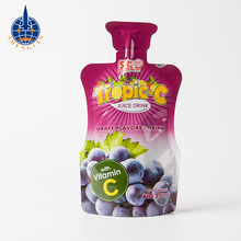 Customized stand up disposable juice packaging pouch with straw inside