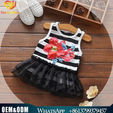 2017 summer sleeveless child clothes latest baby frock designs printed fabric baby girls outfit