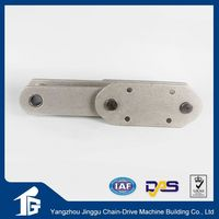 Conveyor chain with scrap small radius top steel flat