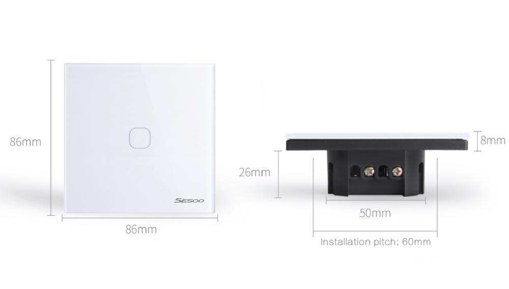Sesoo 2017 переключатель с сенсорным экраном доска 1 Gang Главная Электрический светодиодный индикатор переключатель