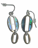 Green Shell Coin Earrings Colorful Circle Shell Earrings New Zealand Paua / Abalone Shell circle earrings