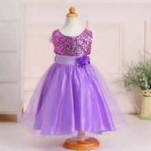 Pretty Girl Party Wear Western Sequins Princess Wedding Dress for Children L-100