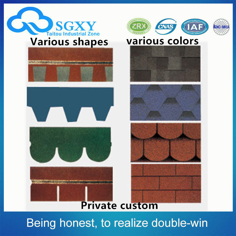 High quality Construction materials Colourful roof tile, asphalt roofing shingle (lantern shape)