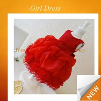 2015 hot sale flower girl dresses for party red girls dresses ball gown kids flower girl dresses SPSY-201