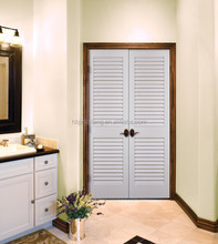 Interior white finished louver wooden door for wardrobe