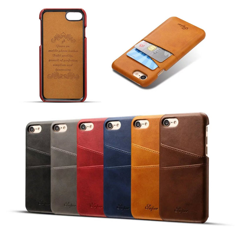 Luxury Design Calfskin PC Leather Hard Case for Apple iphone 7,for iphone 7 Cover With Card Slots