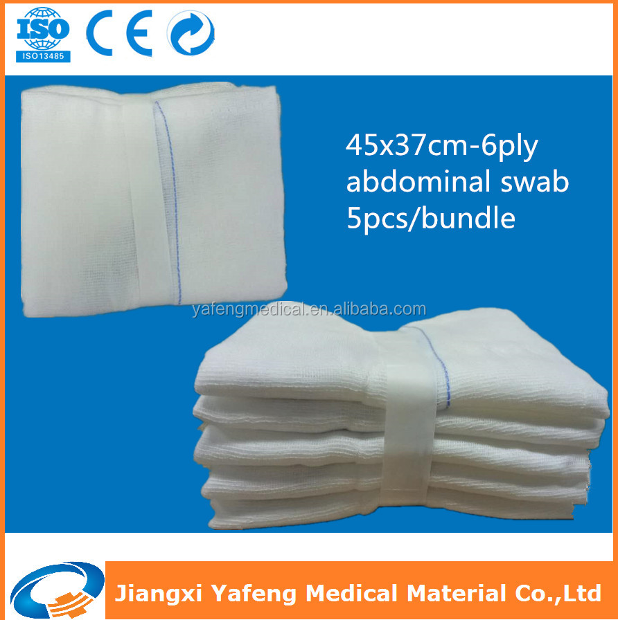 China professional manufacturer of medical gauze abdominal swabs 37x45cm-6ply