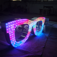 Diy stainless steel hole punch face light up letter sign