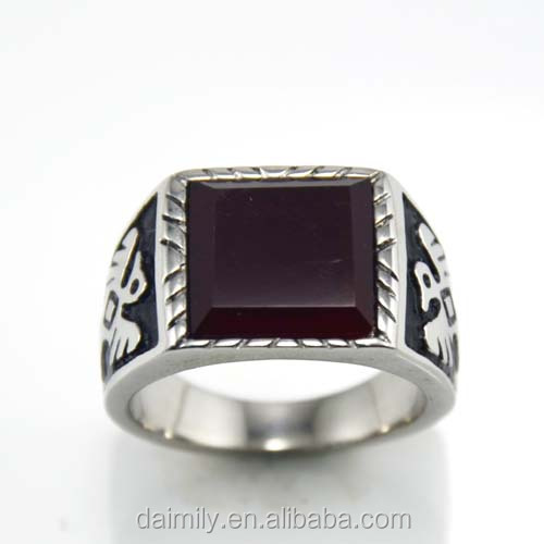 wholesale rings fashionable vintage gothic big stone ring made in China Stainless steel ring