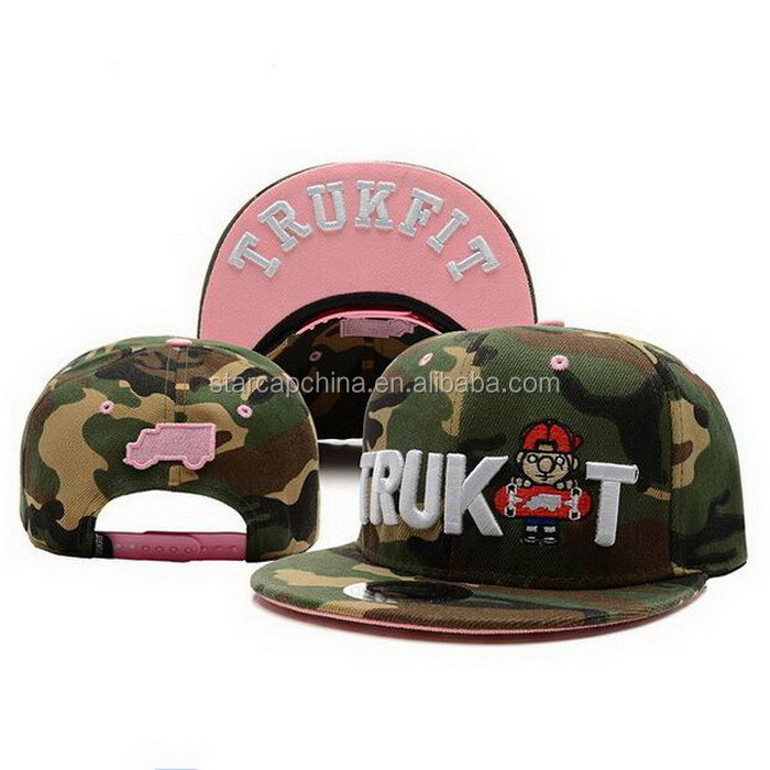 CHEAP FLAT BRIM 3D EMBROIDERY TRUCKET SNAPBACK CAP FOR GIRL