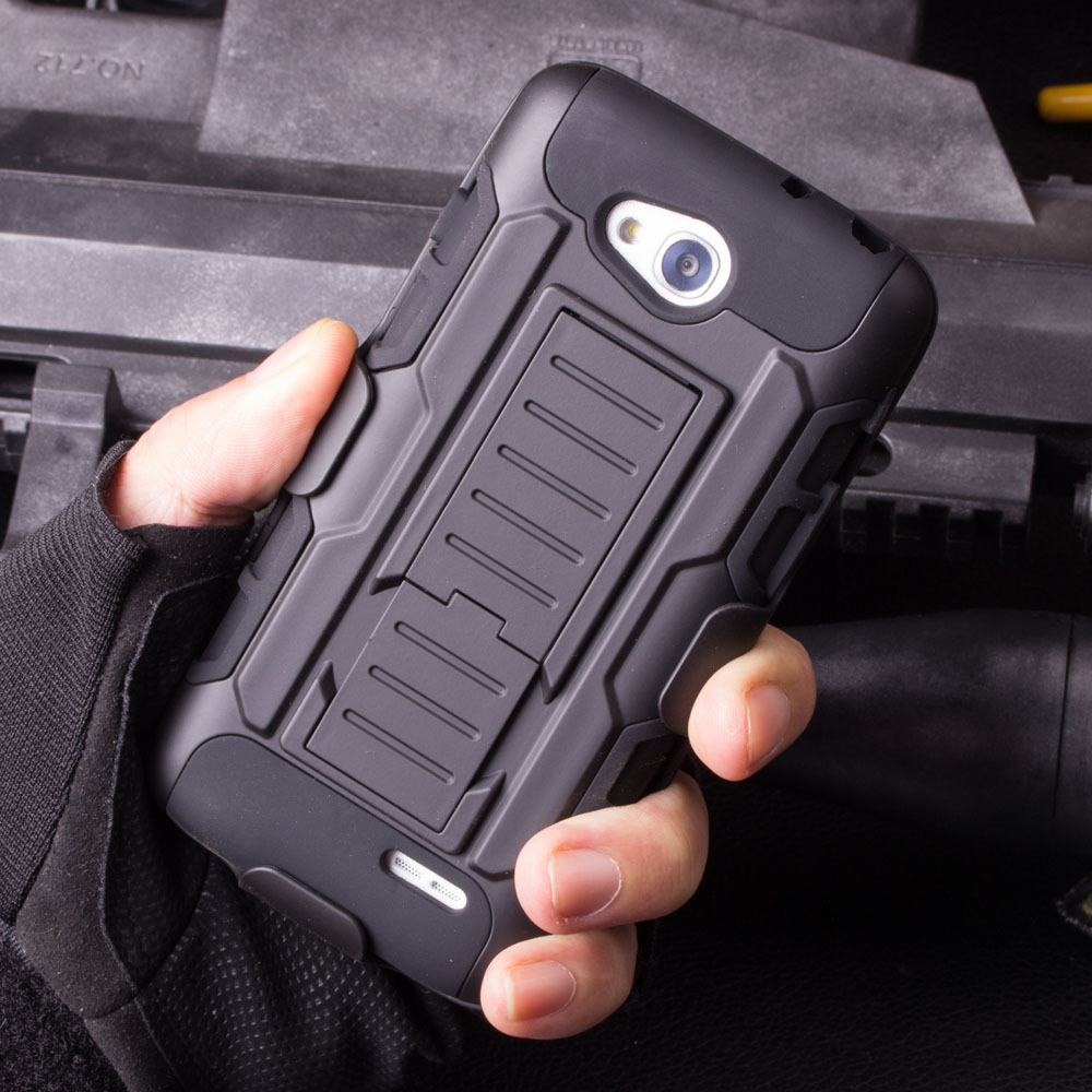 For LG L90 D410 L90 Dual Belt Clip Holster Rugged Hybrid Hard Stand Cell Phones Case