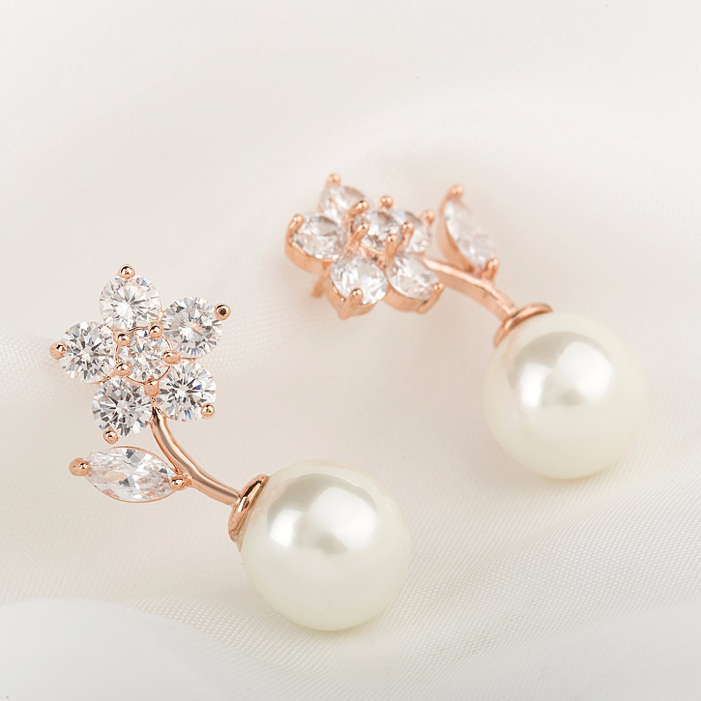 Fashion Pearl stud Earrings ear jewelry stainless steel simple zircon charm earrings for girl Moonso AE5003