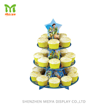 Cardboard Paper 3 Tier Counter Cupcake Retail Display Stands For Retail Promotion