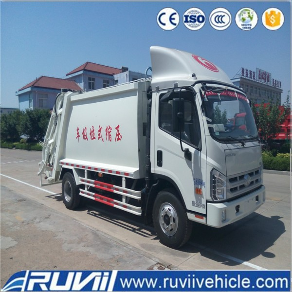 Ruvii Foton 10tons garbage compactor truck with rear bin lifter garbage can cleaning truck