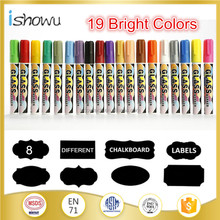 12 color dry Eraser 6mm Reversible Tip liquid chalk marker pen