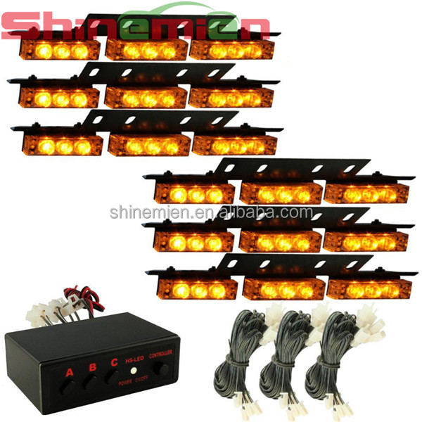 54 LED Vehicle Flashing Emergency Strobe Lights Recovery Grille/Deck Amber Light