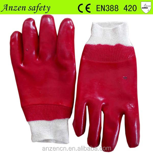 high quality red pvc coated cotton jersey work glove