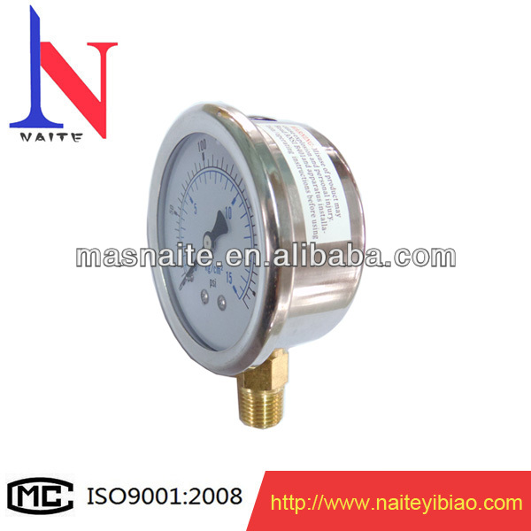 0-15kg/psi 60mm stainless liquid filled manometer