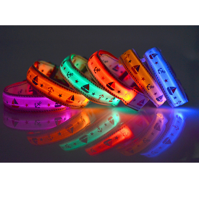Pet Fluorescent Safety Great Visibility Waterproof Light Upled PU Led Dog Collar