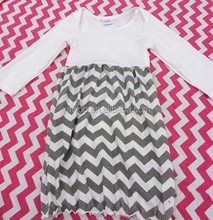Cheap Wholesale Baby Girls Chevron Peasant Evening Dresses Casual Wear Long Sleeve Chilren Frock Designs