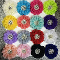 Fashion Chiffon Lace Sewn Rhinestone Pearl Flower Rhinestone Center Chiffon Hair Flower