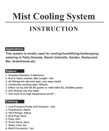 Low Pressure Misting System, Patio Misting System, Water Mist System