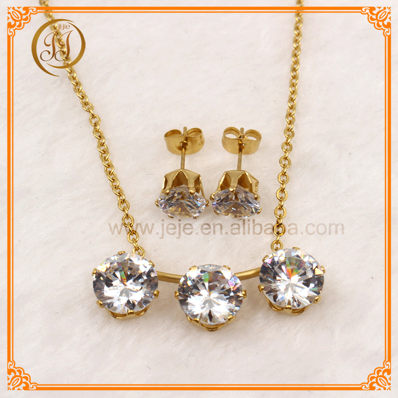 Factory Direct Sale Beautiful Girls Zircon Earring And Pendant Set