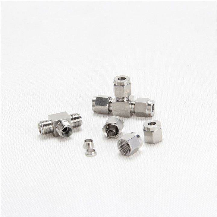 Quick coupler <strong>M10</strong>*1-OD8 male thread hard tube stainless steel 304 three way T type Terminal fitting cast pipe fittings