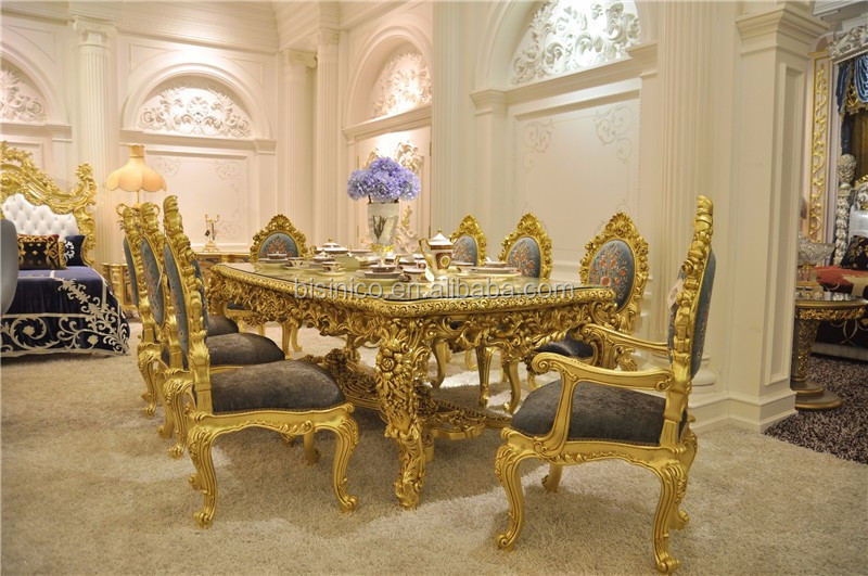 Antique Carved Dining Table Set, Gorgeous Luxury Glass Top Dining Table 8 Chairs Set, Royal Golden Glass Rectangle Dining Table